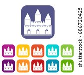 castle tower icons set ... | Shutterstock . vector #686720425