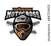 extreme motocross logo  emblem  ... | Shutterstock . vector #686723425