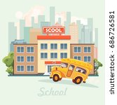 back to school. school building ... | Shutterstock .eps vector #686726581