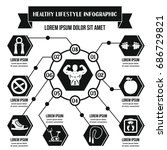healthy lifestyle infographic... | Shutterstock . vector #686729821