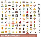100 bachelor icons set in flat... | Shutterstock . vector #686730517