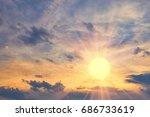 cloud the evening sky at sunset ... | Shutterstock . vector #686733619