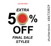 sale poster with watermelon | Shutterstock . vector #686733829