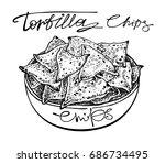 tortilla chips plate. graphic... | Shutterstock .eps vector #686734495