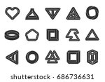 impossible shapes set.... | Shutterstock .eps vector #686736631