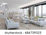 modern bright living room ... | Shutterstock . vector #686739325