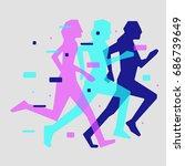 running people vector... | Shutterstock .eps vector #686739649
