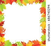 colorful autumn leafs frame | Shutterstock . vector #686740294