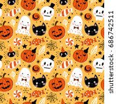 halloween holiday seamless... | Shutterstock .eps vector #686742511