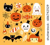 halloween holiday set with hand ... | Shutterstock .eps vector #686742529
