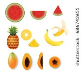 fruit set  vector illustration  ... | Shutterstock .eps vector #686742655