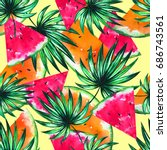 artistic tropical orange and... | Shutterstock . vector #686743561