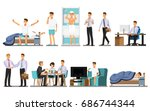 everyday life  man daily... | Shutterstock .eps vector #686744344