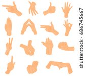 different human hand positions... | Shutterstock .eps vector #686745667