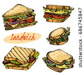 colour set of hand drawn... | Shutterstock .eps vector #686745847