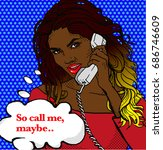 pop art bright retro red lips... | Shutterstock .eps vector #686746609
