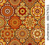 seamless pattern. vintage... | Shutterstock .eps vector #686747611