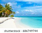beautiful sandy beach with... | Shutterstock . vector #686749744