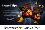 potato chips ads. vector... | Shutterstock .eps vector #686751994