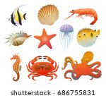 cartoon sea fauna elements set | Shutterstock .eps vector #686755831