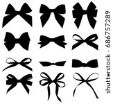 set of decorative black bow... | Shutterstock .eps vector #686757289
