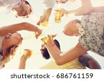 group of young people cheering... | Shutterstock . vector #686761159