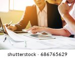 two businessman investment... | Shutterstock . vector #686765629