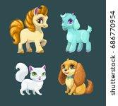 little cute pet girls. vector... | Shutterstock .eps vector #686770954