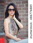woman outdoor portrait. young... | Shutterstock . vector #686776885