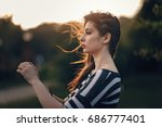 pretty teen girl having pierced ... | Shutterstock . vector #686777401