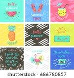 set of summer hand lettering...   Shutterstock .eps vector #686780857