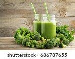 bottles of juice with broccoli... | Shutterstock . vector #686787655