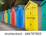 beach huts or colorful bathing...   Shutterstock . vector #686787805