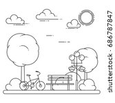 city landscape with bicycle and ... | Shutterstock .eps vector #686787847