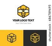 honey logo template. logo... | Shutterstock .eps vector #686789695