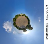 Small photo of Global 360° little planet panoramic view of garden in Kuskovo estate. The Grotto pavilion at background. Subject of cultural heritage of Russia number 7710966000. Moscow, Russia.