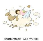 a sleeping girl and a sheep...   Shutterstock .eps vector #686793781