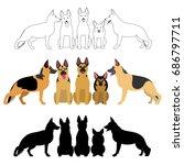Set Of German Shepherd Group