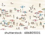seamless banner of tiny people... | Shutterstock .eps vector #686805031