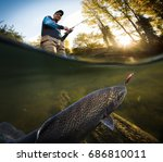 fishing. fisherman and trout ... | Shutterstock . vector #686810011