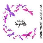 dragonflies in flight | Shutterstock .eps vector #686811055