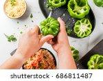 autumn recipes. home stuffed... | Shutterstock . vector #686811487