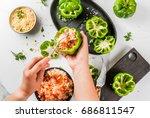 autumn recipes. home stuffed... | Shutterstock . vector #686811547