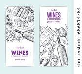 wines and gourmet snacks banner ... | Shutterstock .eps vector #686814784