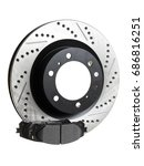 two brake discs and pads on a... | Shutterstock . vector #686816251