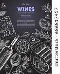 wines and gourmet snacks frame... | Shutterstock .eps vector #686817457