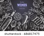 wines and gourmet snacks frame... | Shutterstock .eps vector #686817475