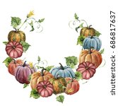 Watercolor Autumn Wreath With...