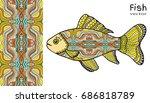 hand drawn stylized sea fish... | Shutterstock .eps vector #686818789