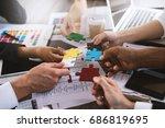 teamwork of partners. concept... | Shutterstock . vector #686819695